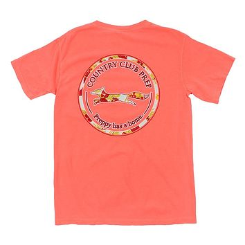 The Hawaiian Outline Logo Tee Shirt in Neon Red Orange by Country Club Prep