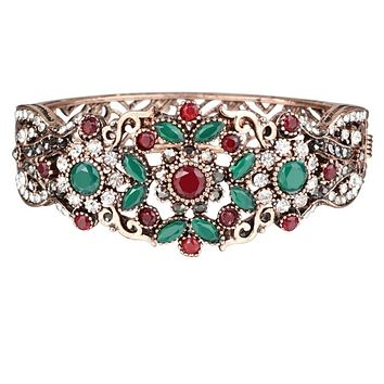 Antique Gold Ornate Red, Green and Clear Crystal Hinged Bangle Bracelet