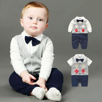 Summer Baby Boy Rompers Newborn Gentleman Clothing Set Cotton Bow Tie Prince Leisure Costumes Infant Jumpsuit Brand Boys Clothes