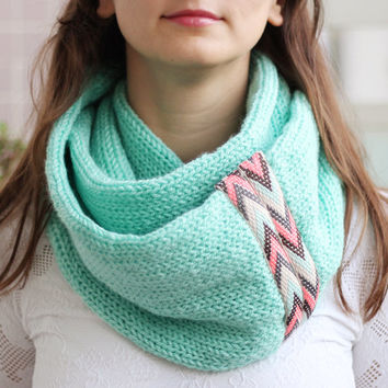 Knit Scarf With Tribal Lace, Infinity Scarf, Circle Scarf, Loop Scarf , Knit Infinity Scarf , Scarf, Open Weave Knit Scarf