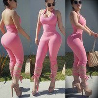 Pink Halter Lace-Up Jumpsuit
