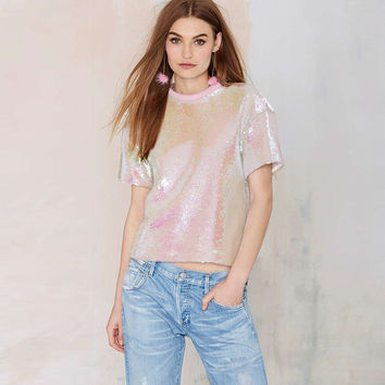 Pink Sequined Short Sleeve Blouse
