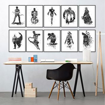 Black White Superhero The Avengers Movie Art Print Poster Wall Picture Canvas Painting Kids Room Decor