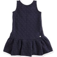 Girls Navy Blue Jacquard Dress