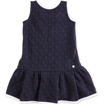Armani Girls Jacquard Navy Dress