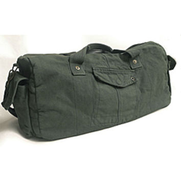 'Voyage' 20-inch Pewter Washed Cotton Canvas Duffle Bag | Overstock.com