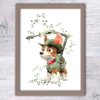 Paw Patrol poster Paw Patrol Tracker print Home decoration Paw Patrol wall decor Kids room wall art Nursery room decor Child room art V289