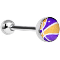 14 Gauge Yellow and Purple Dribble the Basketball Tongue Ring 5/8"