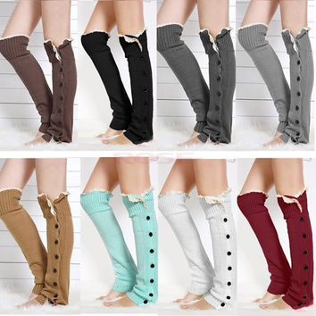 New Womens Knee High Knit Flat Button Crochet Lace Trim Leg Warmers Boot Socks SV010585|26601 Apparel & Accessories = 1958351236