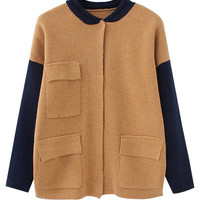 Color Block Tri Pocket Knitted Cardigan