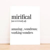 Printable Art Mirifical Definition Typography Poster Office Art Apartment Art Home Decor Bedroom Decor