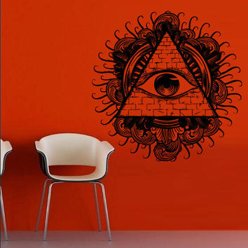 Wall decal decor decals art sticker all seeing eye annuit coeptis illuminati god triangle mason undertakings brick (m772)