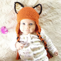 CROCHET PATTERN Fox Crochet Hat Pattern PDF for all Sizes Earflap Crochet Hat Orange Fox Hat Forest Animal Hat Pattern Halloween Costume