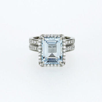 Emerald cut Aquamarine halo engagement ring set, white gold, diamond engagement, light blue, custom, wedding ring set, aquamarine halo