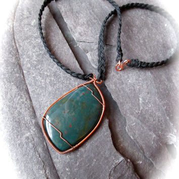 Bloodstone Hemp Necklace - Wire Wrap Copper Pendant on Braided Black Hemp - Teardrop Heliotrope Necklace - Bohemian Wicca Necklace - UK made