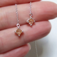 Champagne CZ Ear Threader Earrings, Sterling Silver, Princess Cut, Invisible Square Cut, Sterling Ear Threads, Long Chain Dangle Earrings