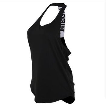 Vansydical Women Gym Sports Vest Sleeveless Shirts Tank Tops Vest Fitness Running Clothes Tight Quick Dry Tank Tops Yoga Shirt