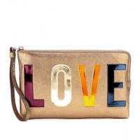 mytheresa.com -  Love Metallic leather clutch - Luxury Fashion for Women / Designer clothing, shoes, bags