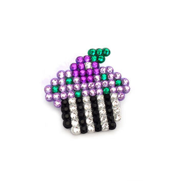 Beetlejuice Themed Cupcake Brooch, Necklace or Hair Clip - Gothic Black Silver Lilac Violet Emerald - Psychobilly Pastel Goth Jewellery