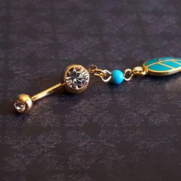 Golden Leaf Your Worries Behind Belly Button Ring (14G)