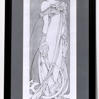 Mucha drawing portrait, whimsical female figure, pencil master copy, copy after Alphonse Mucha, reproduction, fine art, original drawing.