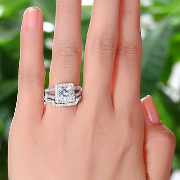 1.5 Carat Princess Created Diamond Solid 925 Sterling Silver Wedding Promise Engagement Ring Set  XFR8141