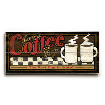 Personalized Coffee Shop Wood Sign