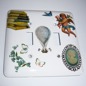 Vintage themed double light switch cover