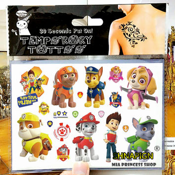 NU-TATY Cute Dog Policemen Child Temporary Tattoo Body Art Flash Tattoo Stickers 17*10cm Waterproof Henna Tatoo Styling Sticker