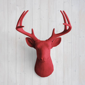 The Virginia Large Cardinal Red Faux Taxidermy Resin Deer Head Wall Mount | Cardinal Red Stag w/ Colored Antlers