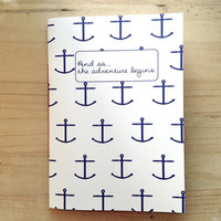 Anchor Bound Notebook, Nautical Print Stitched Journal, Blue Notebook