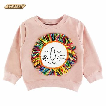 2017 New Spring Autumn Fashion Baby Sweatshirts Children Hoodies Kids Cute Cartoon Lion Tassel Clothing Boys Girls Tops Pullover