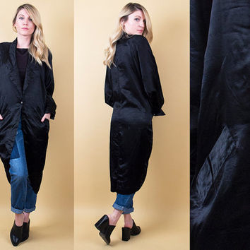 80's black tuxedo jacket / longline duster robe draped cocoon coat / Vintage 1980s long blazer ringleader formal party glam