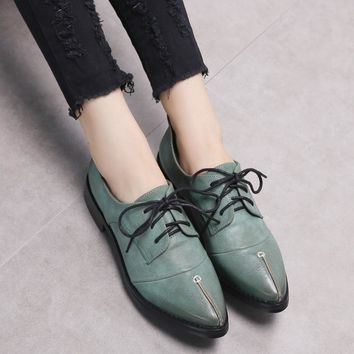 Fall and Spring Female Brogue Shoes Women's Shoes Pointed Toe British Style Women's Dr