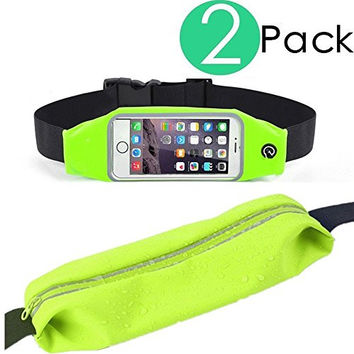 (2 Pack) Running Belt,Universal Runner Waist Fanny Pack Belt Pouch Case for All iPhone Device, Samsung Galaxy S5, S6,S7 Edge, Note 4, 5, Lg G3, G4