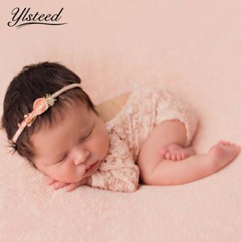 Newborn Lace Romper Baby Boho Bloomer Jumper Baby Girl Pearl Pink Romper Newborn Photography Props Baby Fotografie Bebe Fotos