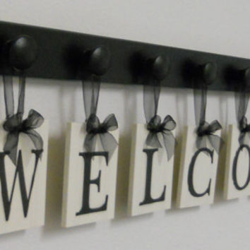 WELCOME Sign Personalized Hanging Letters Includes 7 Wood Knob Display Painted Black. Home Entryway Decor.