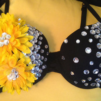 EDC Bra, Rave Bra, Daisy Bra, Sunflower Bra, EDC Wear, Rhinestones, Halloween Costume, Outfit for EDC, Dance Wear, Nocturnal Sunflower