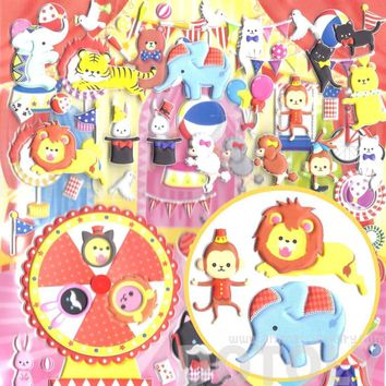 Large Elephant Monkey Bear Bunnies Shaped Circus Animals Themed Moveable Puffy Stickers | 2 Sheets