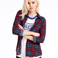 Polly & Esther Challis Womens Boyfriend Flannel Shirt Red  In Sizes