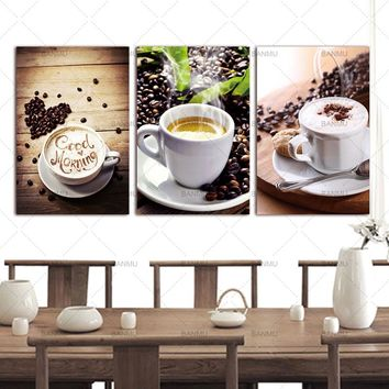 Wall Art Picture Canvas Paintings 3 Panels Wall Decoration Canvas Photo Prints Modern Kitchen Scene Coffee on canvas no frame