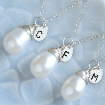 Set of 3 Pearl Drop Necklaces with Initial Tag, in Silver, Personalized, Wire Wrapped Pearl, Custom, Bridesmaid Gift