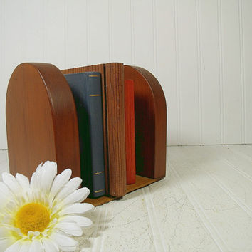 Mid Century Solid Wood Book Ends Pair of 2 Pieces - Vintage Oak Wooden Library Accents Set - Danish Modern Design Finished Wood Book Props