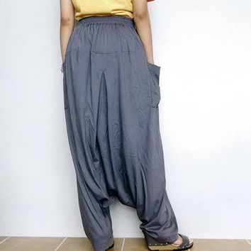 Gray In Drop crotch with Zipper long trouser,Unisex harem baggy unique pants,Cotton blend (Drop Zip-10).