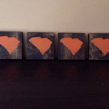 South Carolina Wood Coasters, Custom South Carolina Coasters, Set of 4, Stained and Hand Painted, South Carolina decor