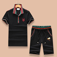 GUCCI 2018 summer new polo half sleeve shorts two-piece F-A00FS-GJ black