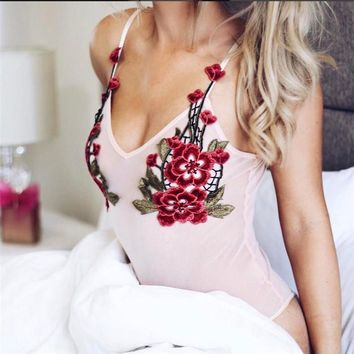 Spaghetti Strap Flowers Backless Sleeveless One-piece [9940085635]