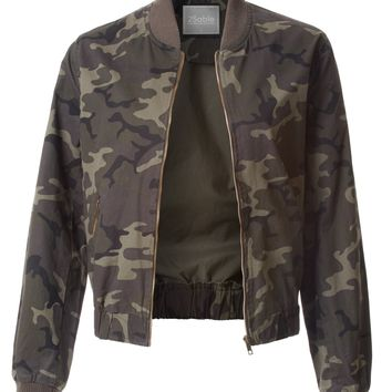 LE3NO Womens Varsity Cotton Camo Print Zip Up Bomber Jacket with Pockets