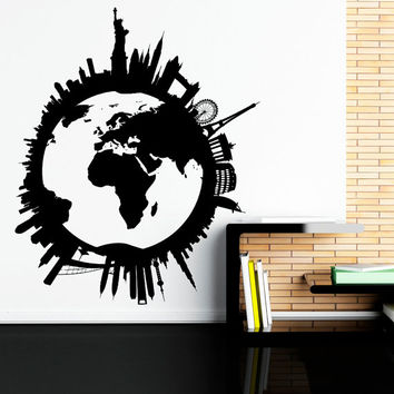 Shop globe wall decal on wanelo world map wall decal world globe wall decal travel stickers city skyline scape decals living gumiabroncs Images