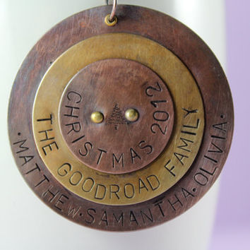 Personalized Family Christmas Ornament, Hand Stamped Copper and Brass